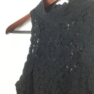 Vintage Lace Black High Neck Sleeveless Top